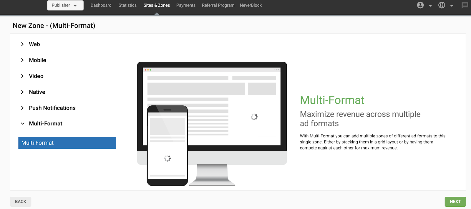 How to create a Multi-Format ad zone
