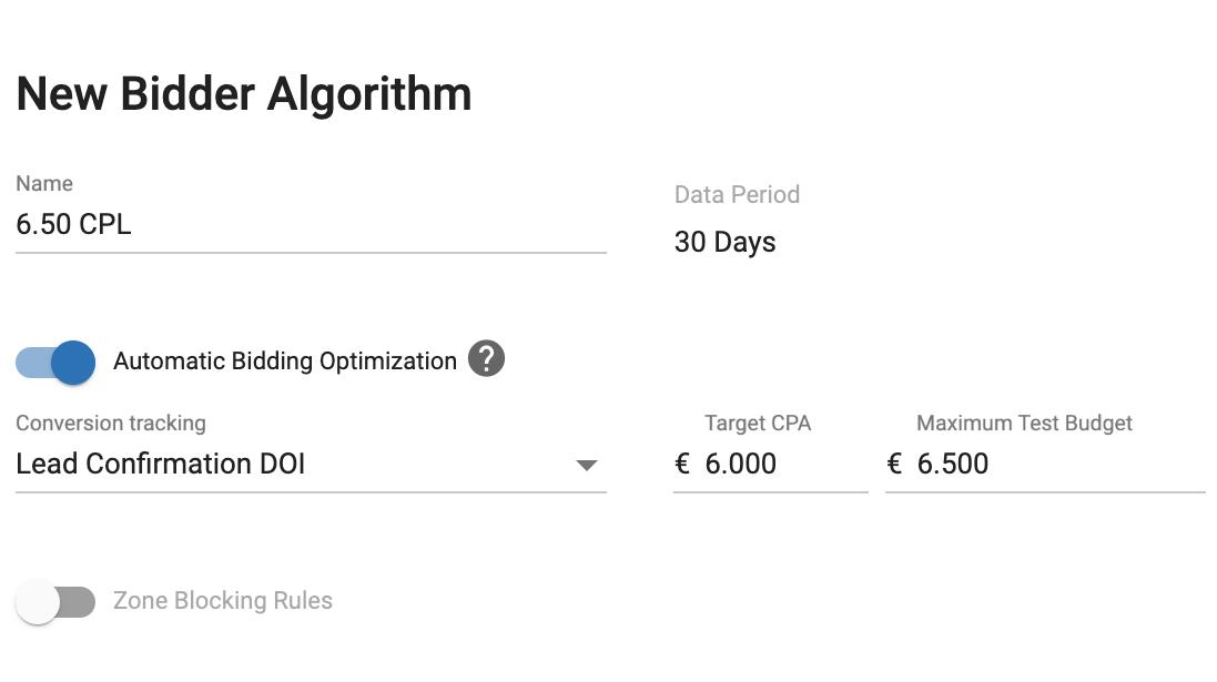 ExoClick Bidder algorithm